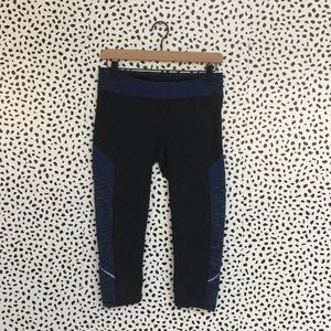 Lucy Cropped Blue & Black Athletic Leggings